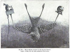 Large Scale Representation of Rabbit, Bird, and Skull Electro-Mobile Jewelry, Care of Gustave Trouvé and La Nature (1879)